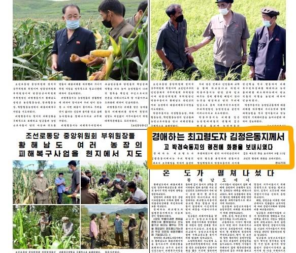 9월 1일자 노동신문 1면에 실린 김정은 위원장의 동정 기사. 당 간부들의 현장 지도 기사보다 아래쪽에 비교적 작은 비중으로 실려 있다.