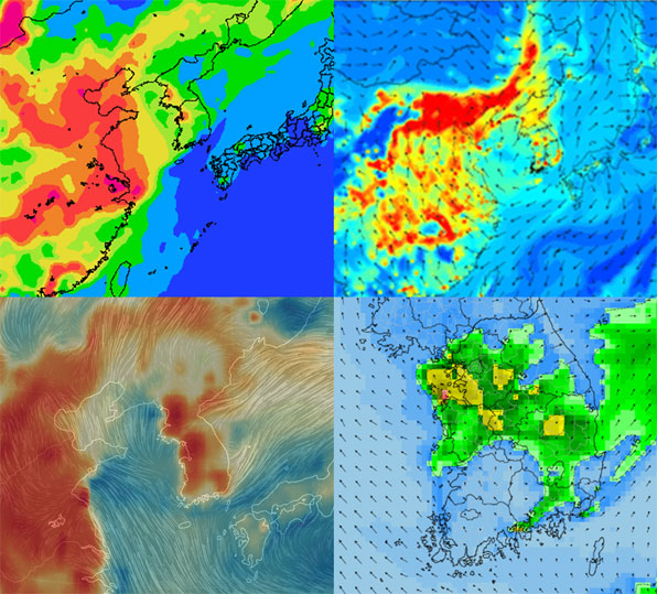다양한 미세먼지 예측 모델. 위성 사진이 아닌 시뮬레이션 결과를 나타낸다.