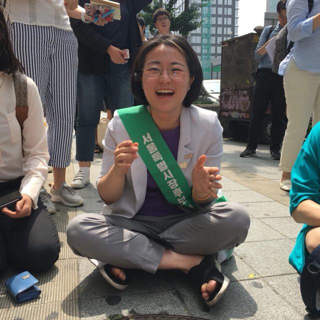 지난 6월 9일 '촛불 청소년인권법제정연대' 주최 행사에 참석한 신지예 후보. [출처: 신지예 후보 트위터]