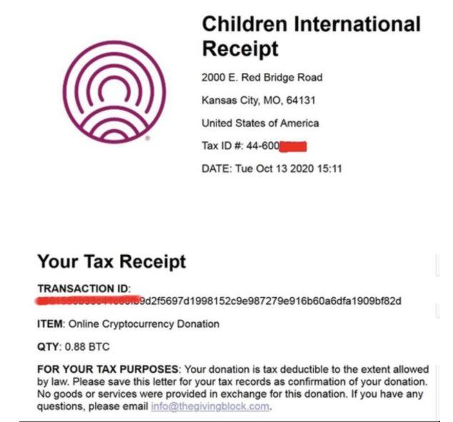 'Children International'에서 해킹 단체에 발행한 기부금 영수증