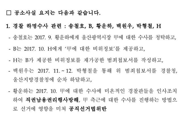 검찰이 제공한 송철호 울산시장 기소 보도자료