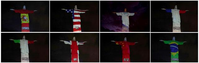 여러 나라의 국기가 투영된 예수상