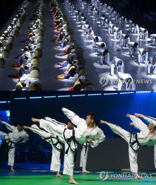 남한이 주도하는 WTF 시범공연(위), 북한이 주도하는 ITF 시범공연(아래)