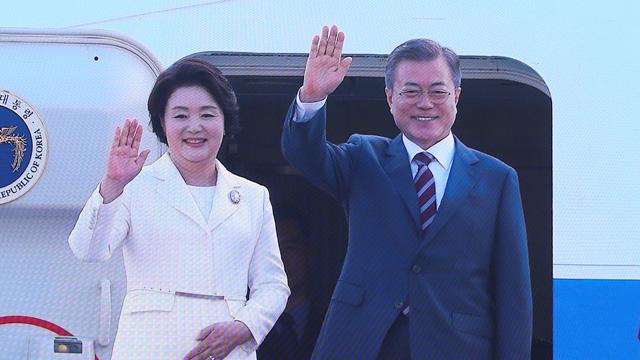 [영상] 문 대통령 전용기 평양으로 출발