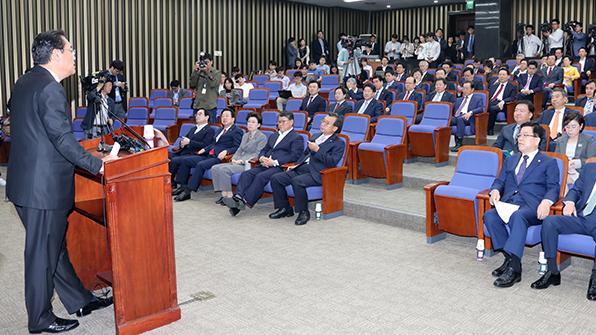 새누리, 본회의장 입장 않고 의원 총회
