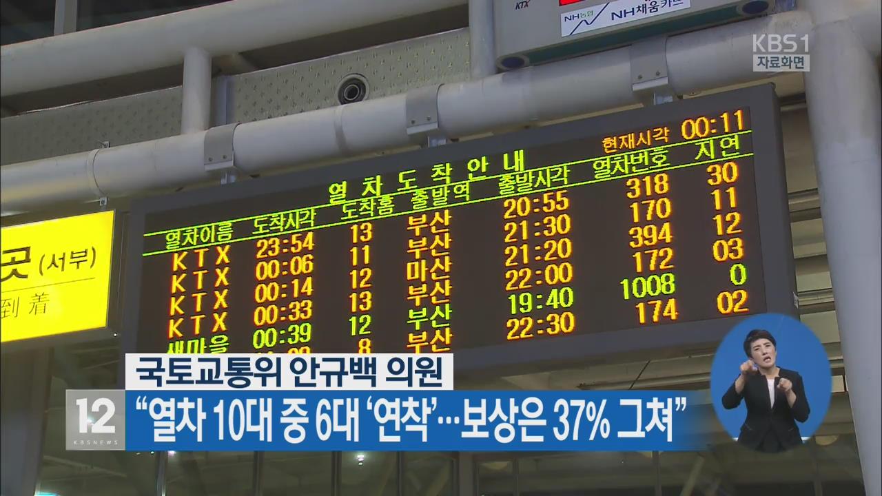 """열차 10대 중 6대 '연착'…보상은 37% 그쳐"""