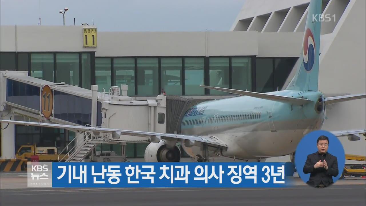 기내 난동 한국 치과 의사 징역 3년