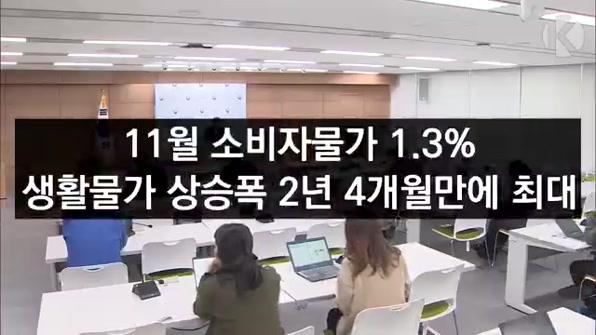 [라인뉴스] 11월 소비자물가 1.3%…생활물가 상승폭 2년4개월만에 최대