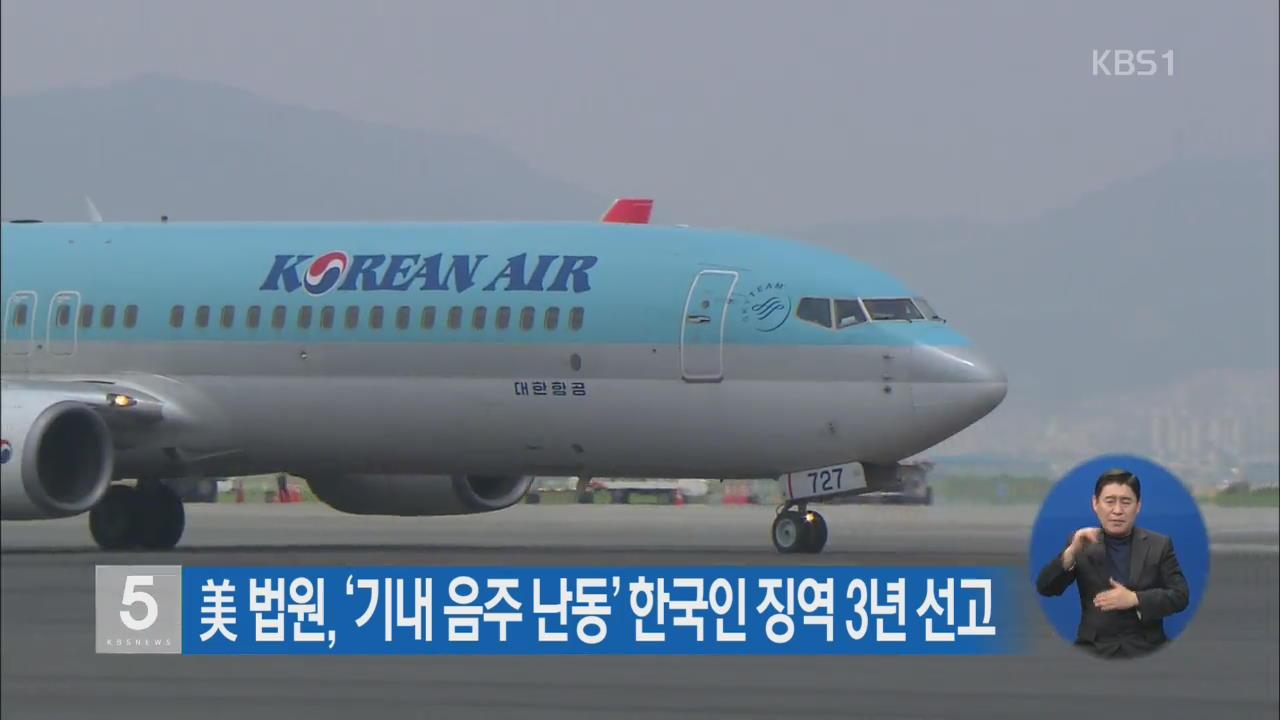 美 법원, '기내 음주 난동' 한국인 징역 3년 선고