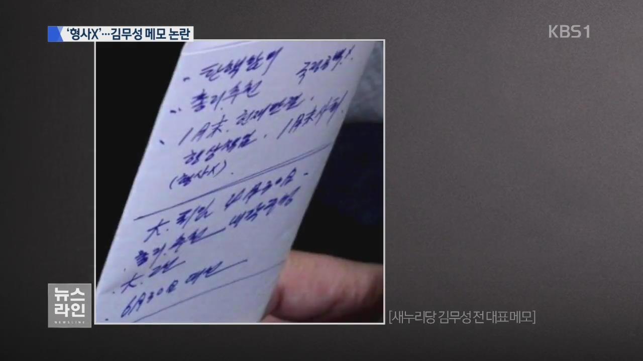 김무성 메모 노출…'형사 X' 해석 놓고 논란