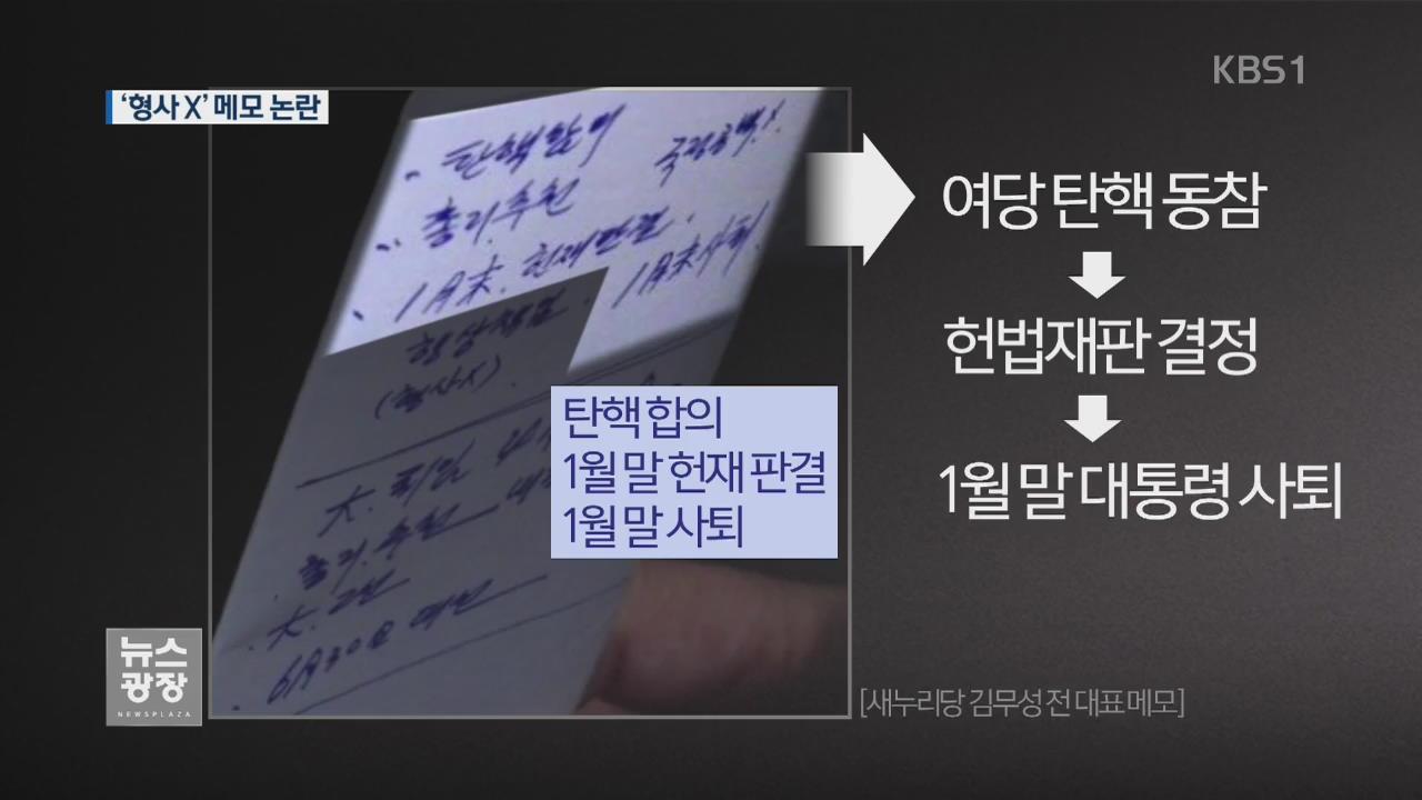 '형사X'…김무성 메모 해석 놓고 논란