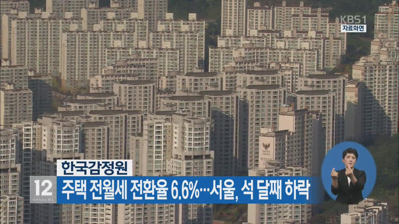 주택 전월세 전환율 6.6%…서울, 석 달째 하락