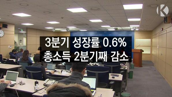 [라인뉴스] 3분기 성장률 0.6%, 총소득 2분기째 감소