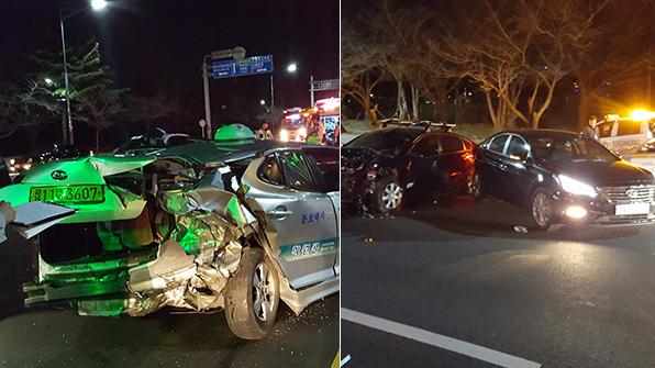 음주 운전 2중 추돌 사고…3명 부상
