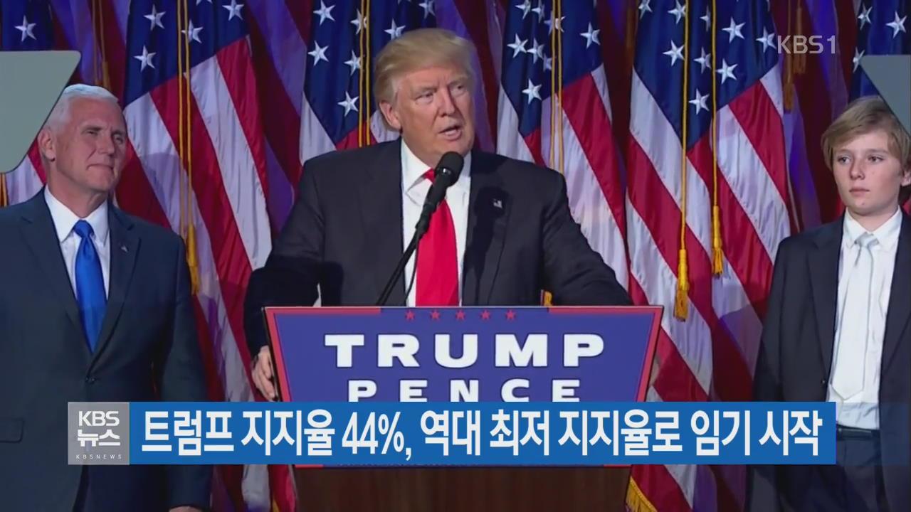 트럼프 지지율 44%, 역대 최저 지지율로 임기 시작