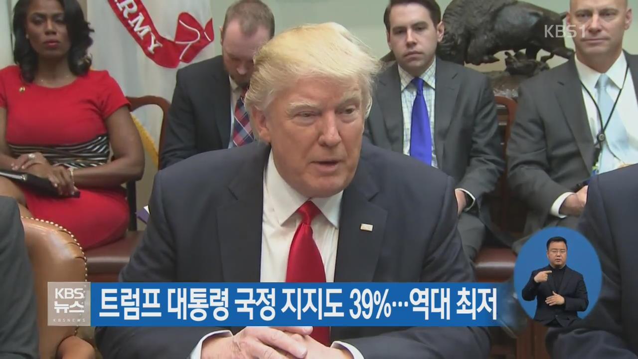 트럼프 대통령 국정 지지도 39%…역대 최저