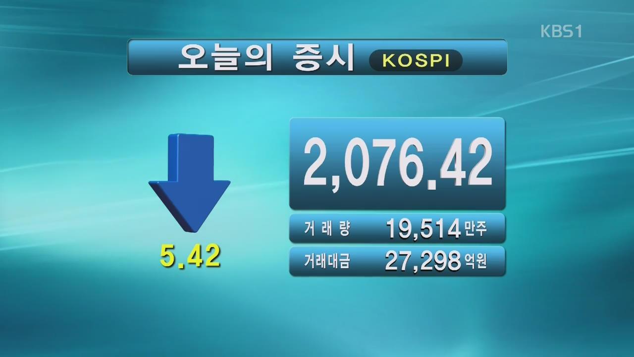 코스피 2,076.42 코스닥 617.49
