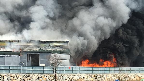 경북 성주 포장제조공장에서 불…건물 2개동 전소