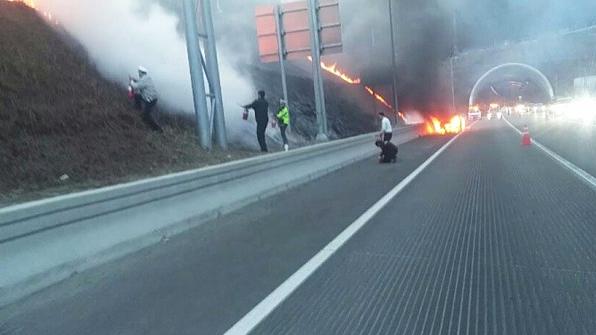 경기남부청 기동대, 고속도로서 차량화재·산불 진압