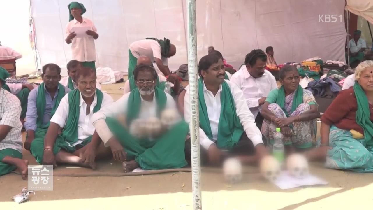 인도 농민들, 정부 가뭄대책 요구 '해골' 시위