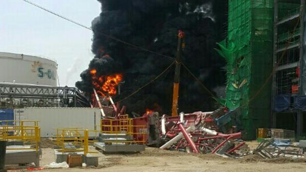 울산 에쓰오일 공사현장 기름 배관 폭발…5명 부상