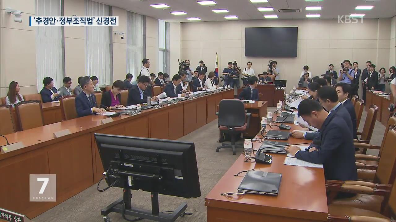 국회, 추경·정부조직법 심사 '막판 힘겨루기'
