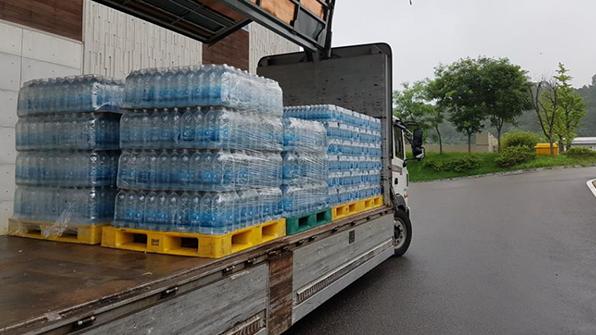 서울시, 폭우 피해 청주 지역에 아리수 1만 병 지원
