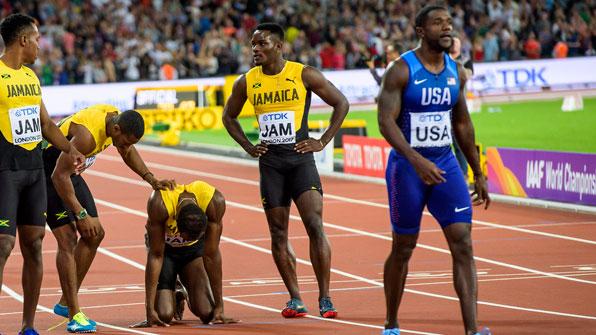 볼트, 레이스 도중 쓰러져…영국, 남자 400m계주 첫 우승