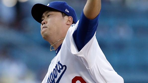 류현진, 5이닝 3실점 '5승 불발'…개인 최다 시즌 16피홈런
