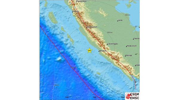인도네시아 수마트라 섬 남부서 규모 6.5 지진