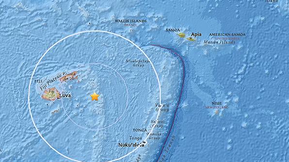 남태평양 피지 남동쪽 해상서 규모 6.4 지진