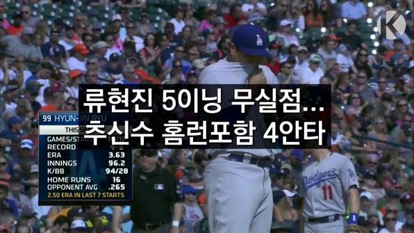 [라인뉴스] 류현진 5이닝 무실점…추신수 홈런포함 4안타