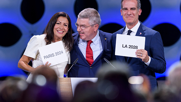 IOC, 2024년. 2028년 올림픽 개최지 파리, LA 확정