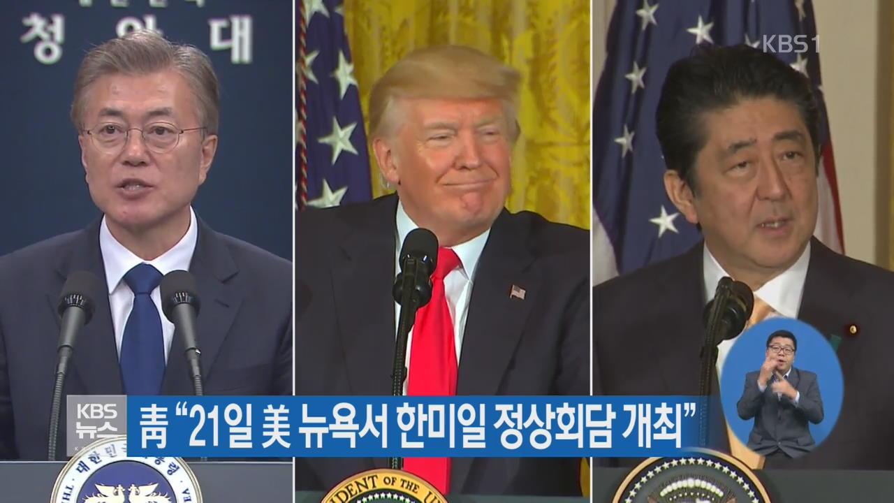 """靑 """"21일 美 뉴욕서 한미일 정상회담 개최"""""""