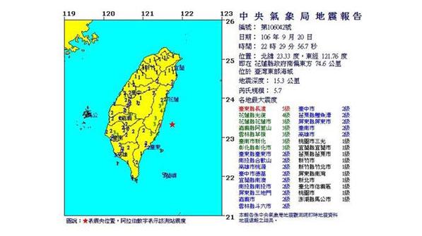 타이완도 규모 5.7 지진 발생