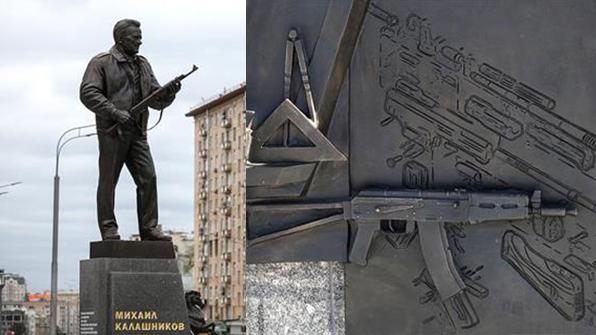 러 'AK-47' 소총 개발자 칼라슈니코프 동상에 나치독일 소총