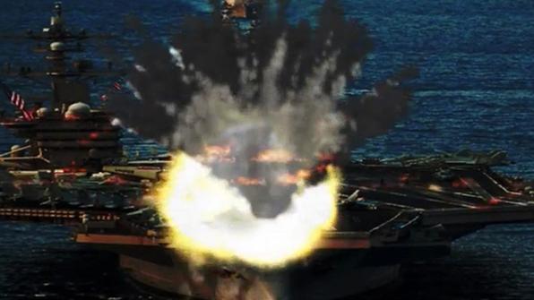 北매체, B-1B·핵항모 칼빈슨 타격 합성사진 공개