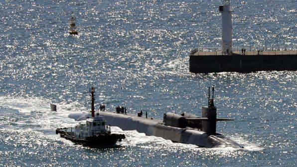 미국 핵잠수함 미시간호, 부산항 입항