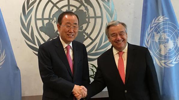 반기문, 퇴임후 첫 유엔 방문…구테흐스에 '북핵 유엔역할' 당부
