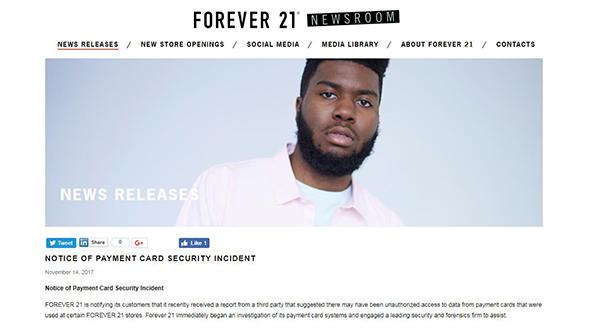 美 한인 세운 포에버21, 일부 매장서 카드결제 해킹