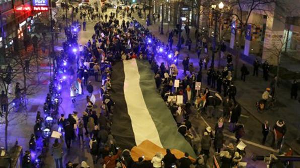 美팔레스타인계, 시카고서 예루살렘 수도인정 반대시위