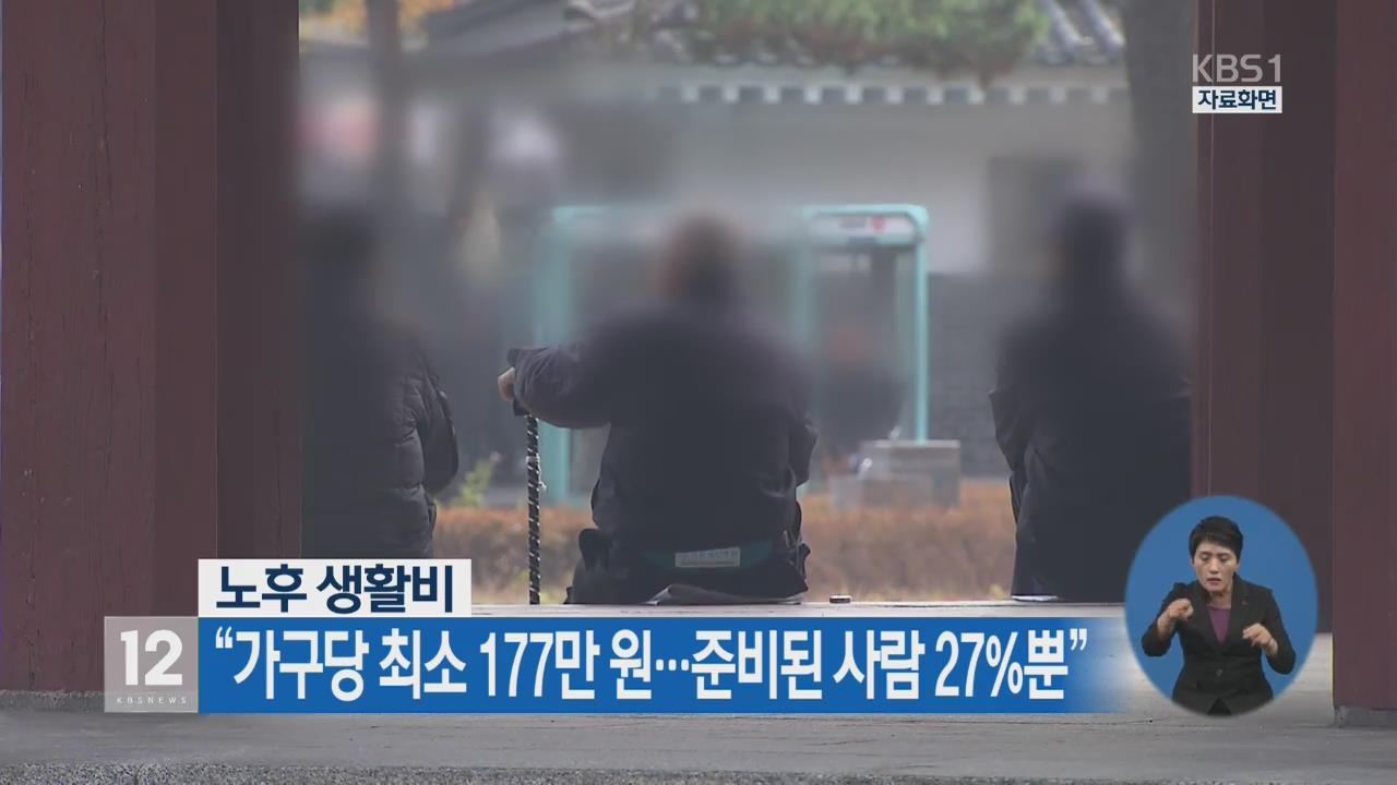 """""""노후 생활비 가구당 최소 177만 원…준비된 사람 27%뿐"""""""