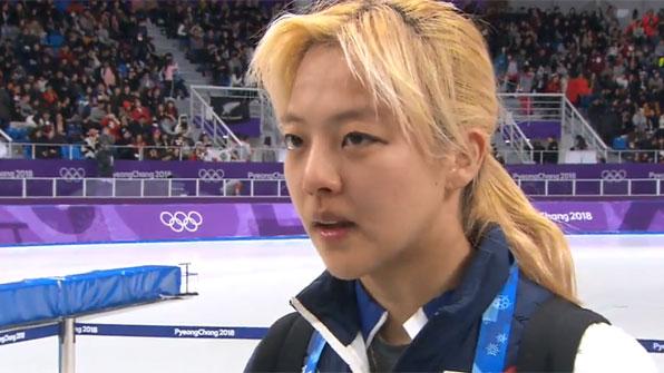 """[영상] 매스스타트 銀 김보름 """"죄송합니다…그리고 감사합니다"""""""