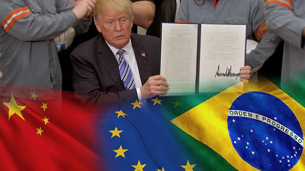 """""""악몽이 현실로"""" 트럼프 관세 도발에 각국 전면전 선언"""