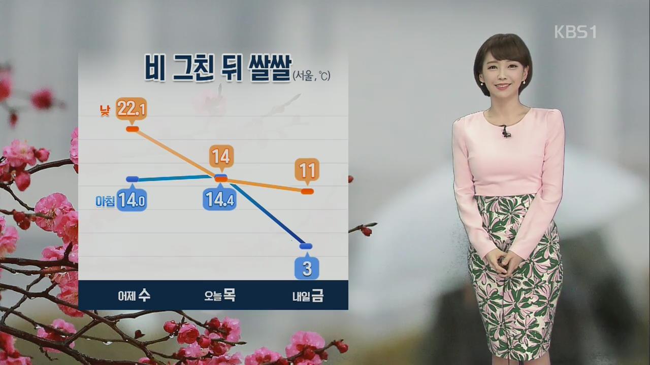 전국에 '봄비'…그친 뒤 체감온도 떨어져 '쌀쌀'