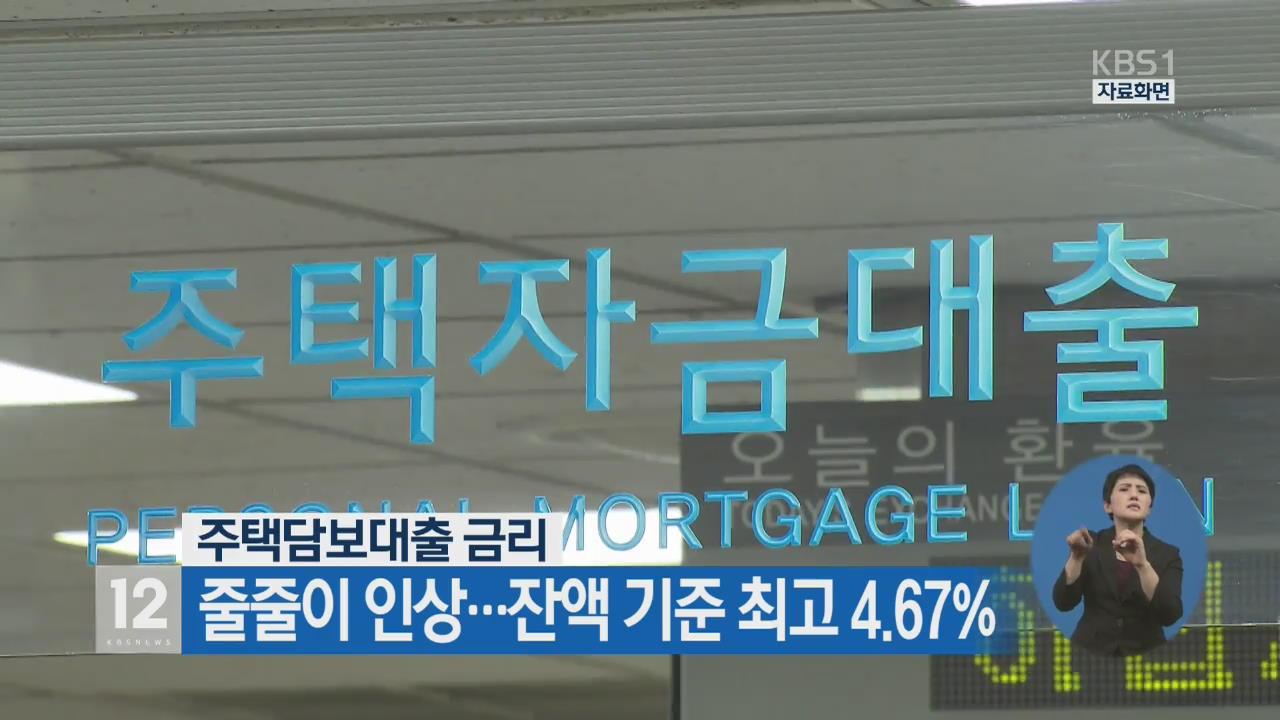 주택담보대출 금리 줄줄이 인상…잔액 기준 최고 4.67%
