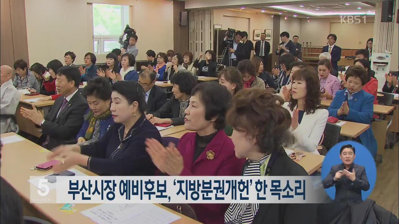 부산시장 예비후보, '지방분권개헌' 한 목소리
