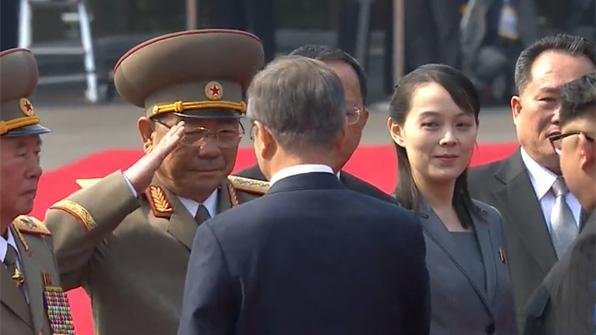 北 군수뇌 리명수·박영식, 문 대통령에 거수경례