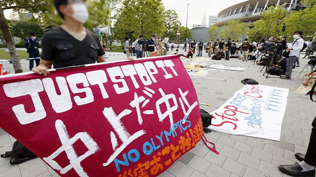 日 신규확진 사흘째 6천명 넘어…도쿄 도심서 '올림픽 취소' 시위