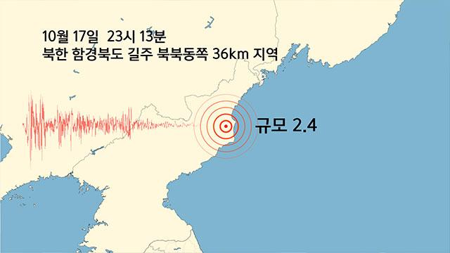 북한 함경북도 길주 부근 지역에서 규모 2.4 지진